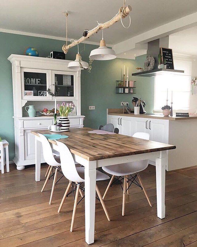 Westwingde On Instagram Wir Lieben Die Grüne Wand In Der Küche Von Fraeuleinemmama Mywes Moderner Landhausstil Wandgestaltung Küche Ideen Wohnung Küche