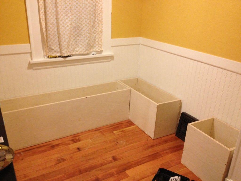Diy Custom Kitchen Nook Storage Benches Impatiently Crafty