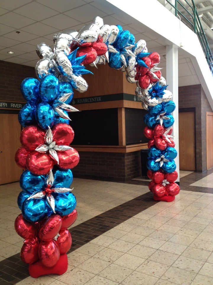 Patriotic balloon arch by zany janie balloon decor for Balloon decoration arches