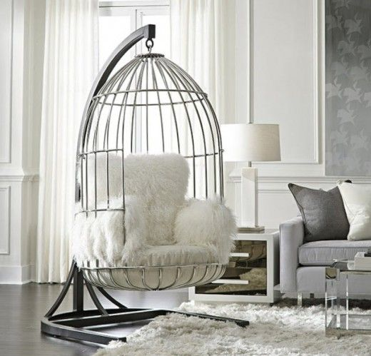 Hanging birdcage chair bastile chait tibetan vwoman - Hanging chair living room ...