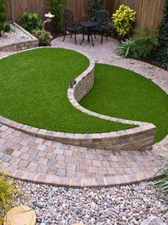 Contemporary Small Patio Design With Ying And Yang Feature