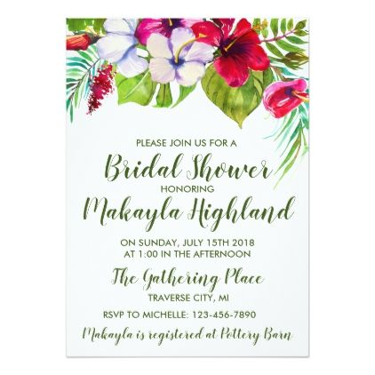Tropical floral island hibiscus bridal shower card wedding tropical floral island hibiscus bridal shower card wedding invitations cards custom invitation card design marriage stopboris Choice Image