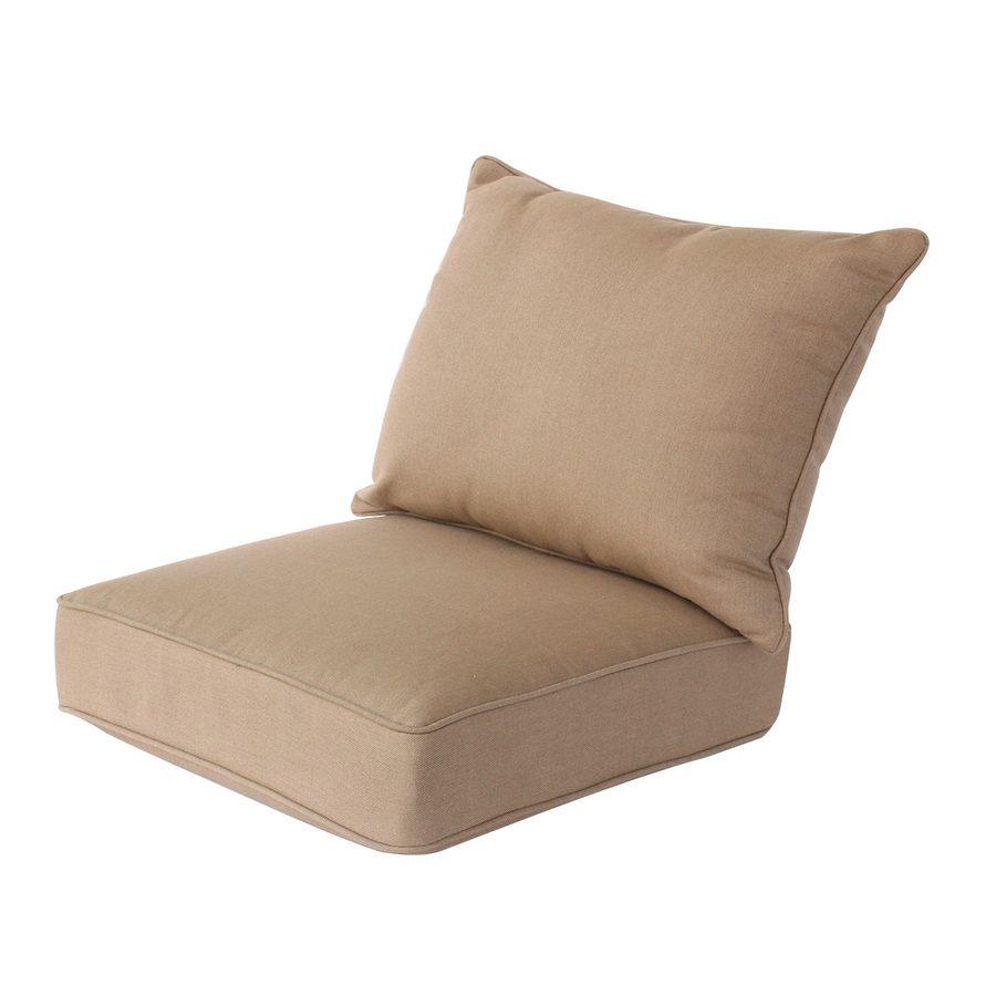 Allen Roth Sunbrella Carrinbridge Sailcloth Sisal Solid Deep Seat Patio Chair Cushion For