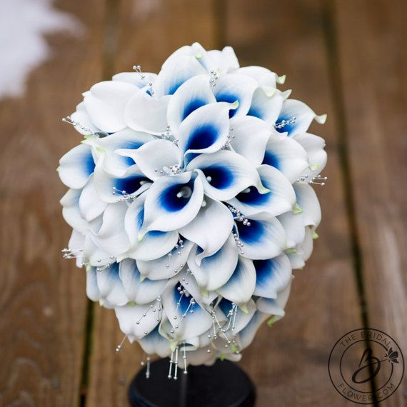 Cascading bridal bouquet, royal blue wedding bouquet, Calla lily ...