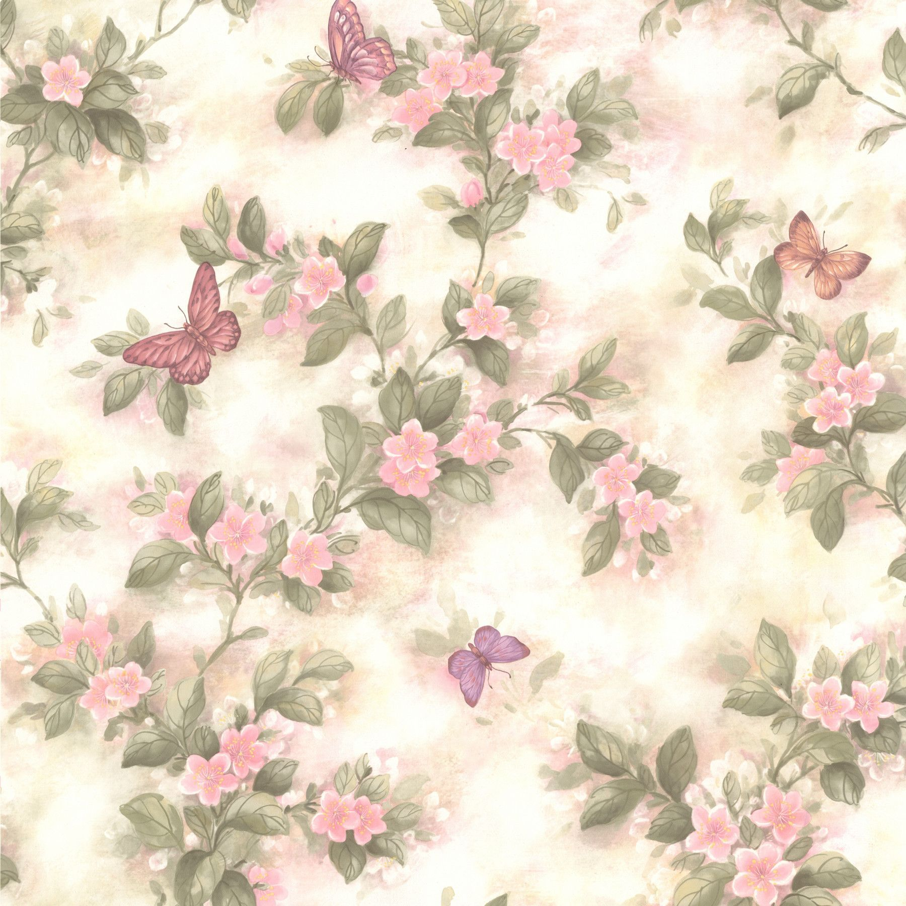 For Your Bath II Lisa 33 X 205 Butterfly Floral Wallpaper