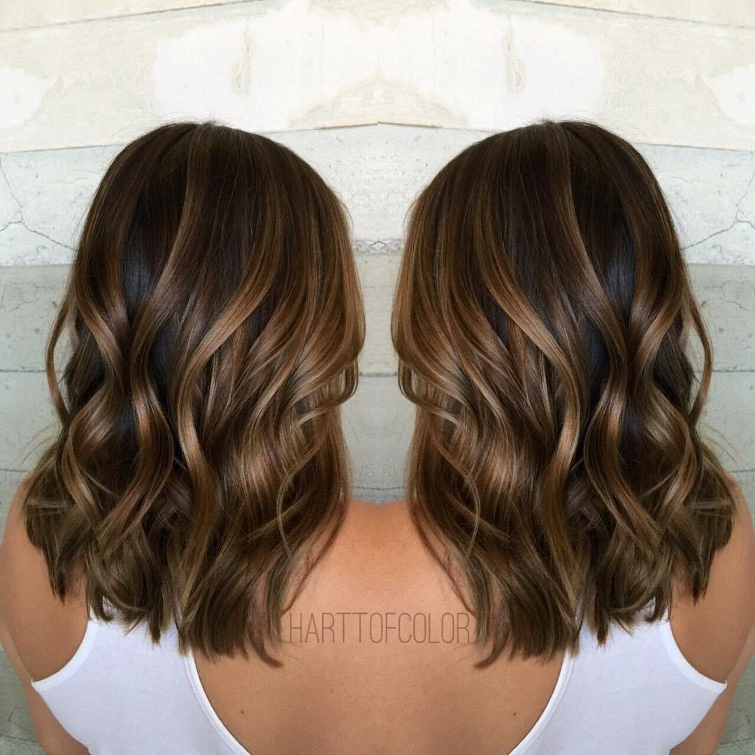 Shiny Walnut Brown Balayage Hair Brown Hair With Caramel Highlights Brown Hair Balayage Balayage Hair