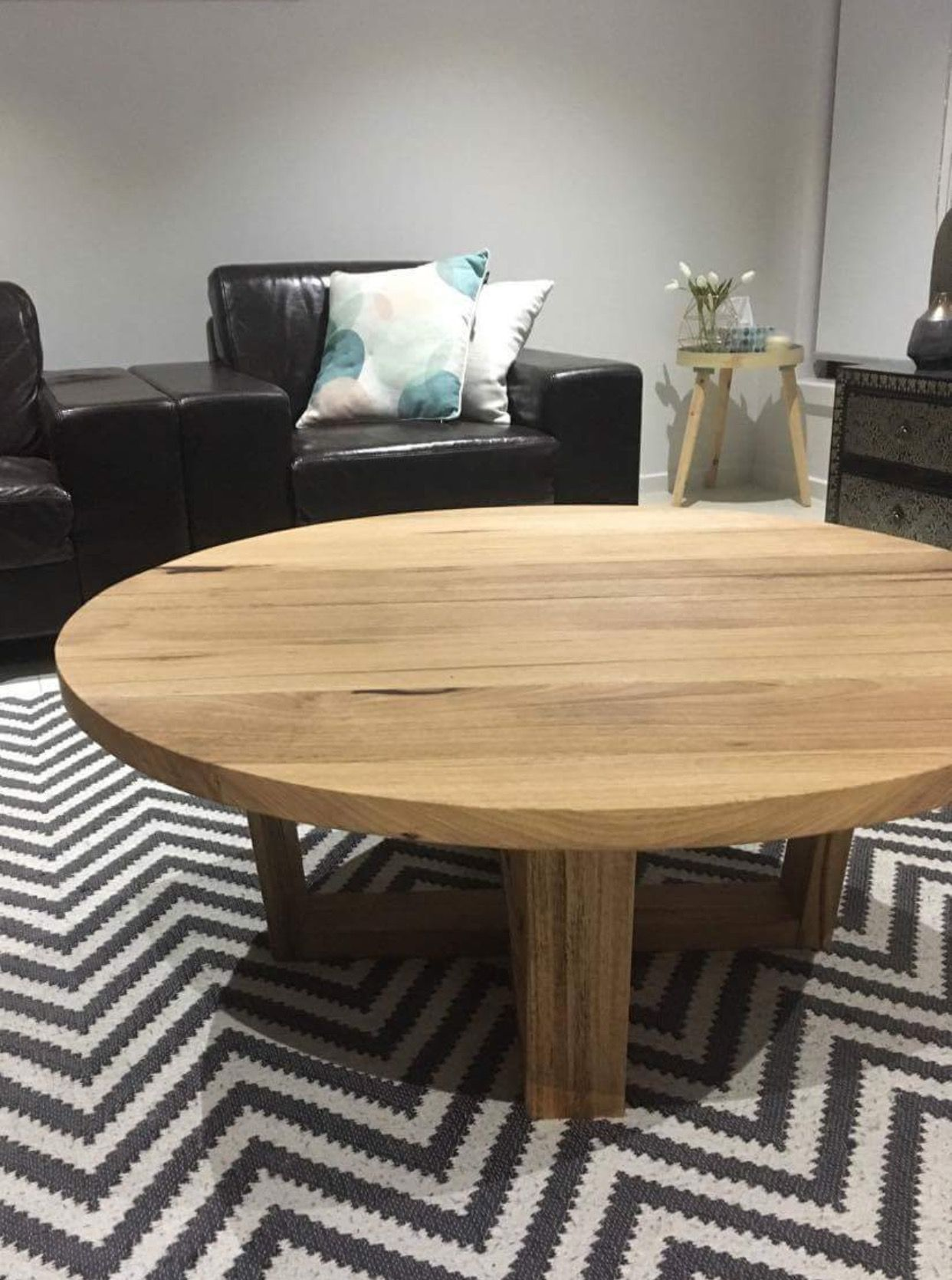 Recycled messmate timber round coffee table