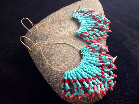 Native American Style Earrings. Beaded Earrings. by SoulLovin, $50.00