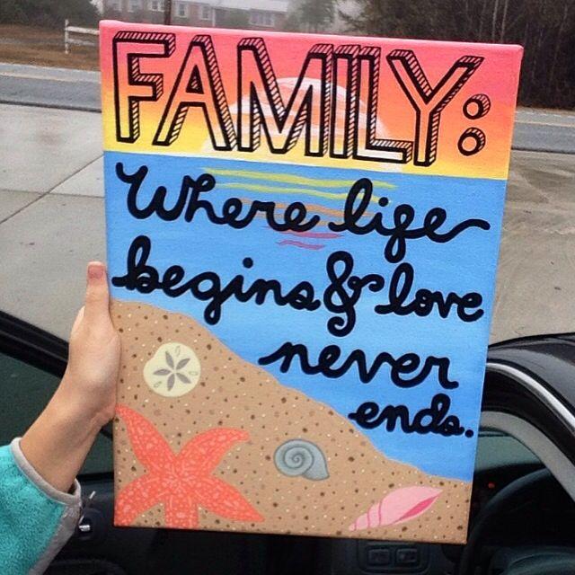 Family Canvas Painting DIY Beach