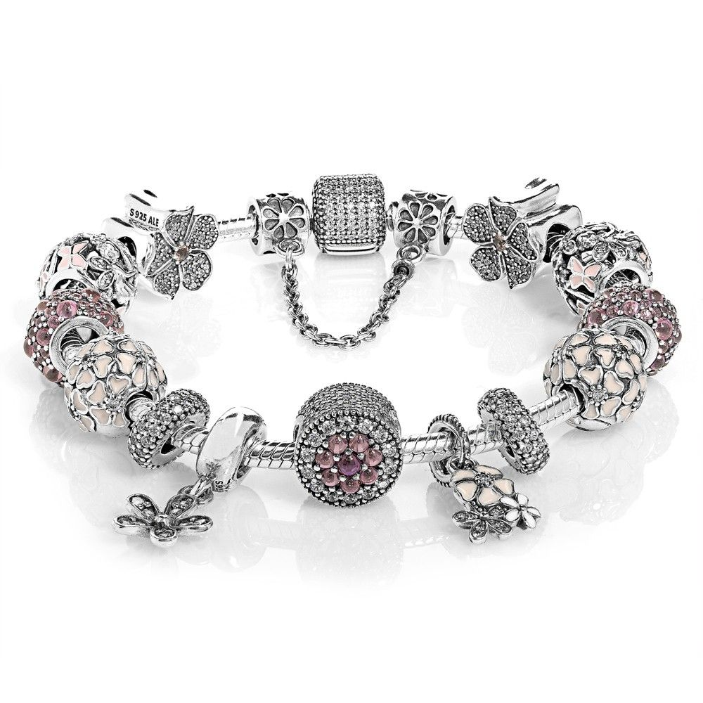 How To Clean Pandora Bracelet And Charms: PANDORA Dazzling Floral Complete Bracelet CB552