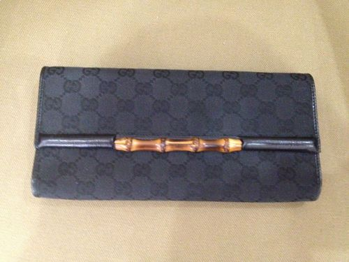 Authentic Gucci Bamboo GG Black Monogram Canvas and Leather Clutch Handbag
