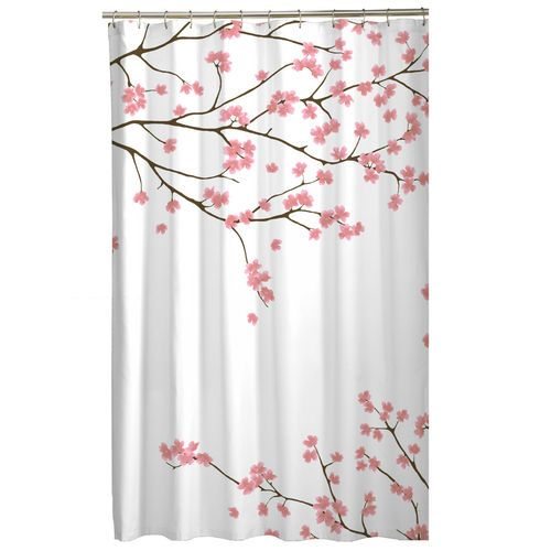 Floral Pink Cherry Blossom Asian Sakura Fabric Shower Curtain Fabric Shower Curtains Shower Curtains Walmart Curtains