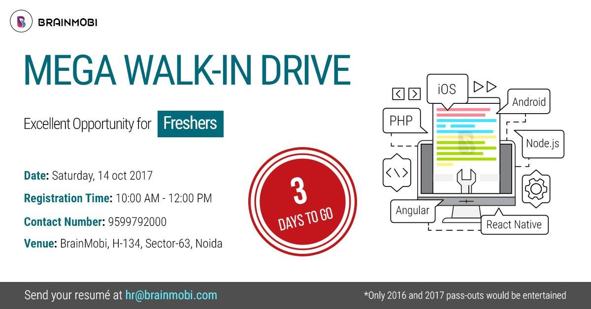 Just 3 days left to BrainMobi's MEGA Hiring! Freshers Keep your resume ready if you seek to become a Web/Mobility Expert.   Date: 14th October 2017 Timings: 10 A.M to 12 P.M Venue: H-134, Sector 63, Noida, U.P.  #BrainMobiHiring #BrainMobiWalkin #JobHiring #FresherHiring #LookingFor #MobilityExperts #Walkin