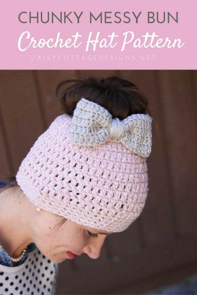 Messy Bun Free Crochet Pattern Crochet Bow Pattern Bow Pattern