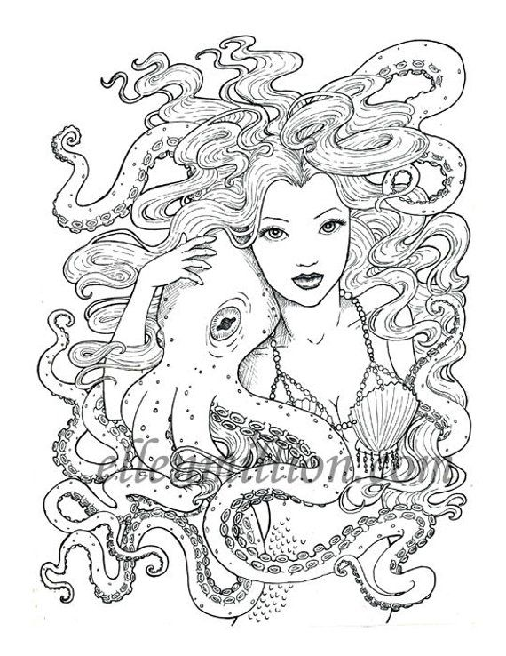 Tentacle Friends Beautiful Mermaid Octopus Digi Stamp Digital