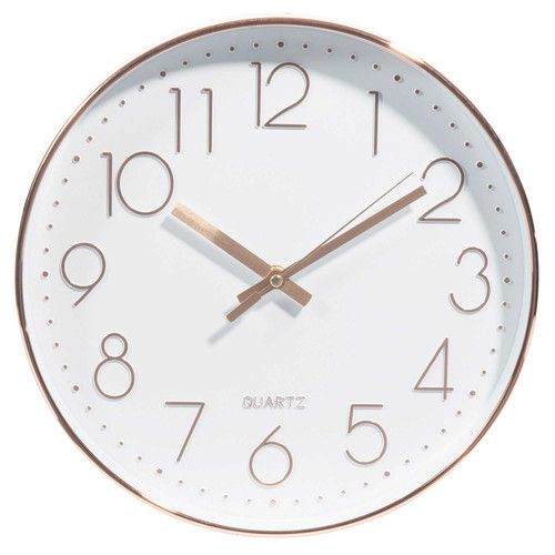 Horloge blanche et cuivr e d31 rose gold maison du monde deco maison du monde et maison - Horloge a poser maison du monde ...
