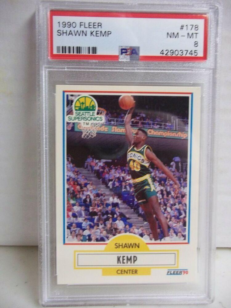 1990 fleer shawn kemp rookie psa nmmt 8 basketball card