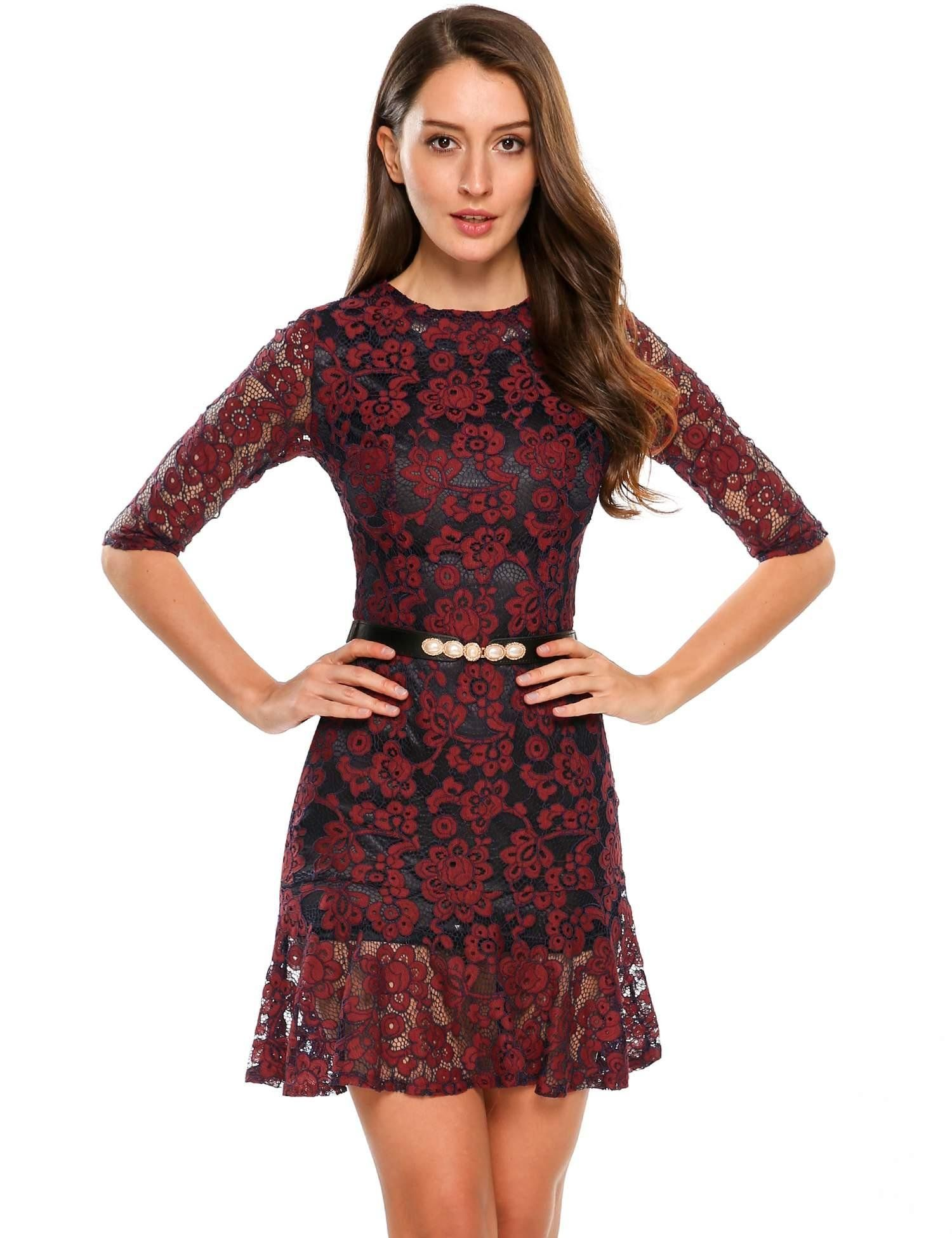 8d7ea778d6ac8 ANGVNS Womens Vintage Floral Lace 2 3 Sleeve Cocktail Evening Party Dress    Check out this great product. (This is an affiliate link)
