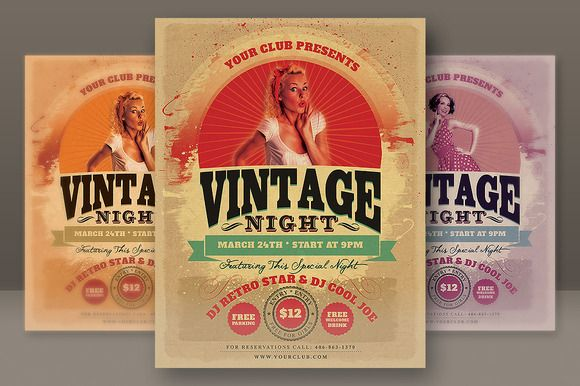 Vintage Night Party Flyer ~~ Retro style and unique flyer, poster - retro flyer templates