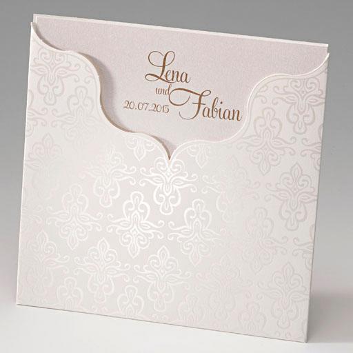 Edle Einladungskarte Auf Einem Schimmernden Premiumkarton Mit Edler  Folienprägung.