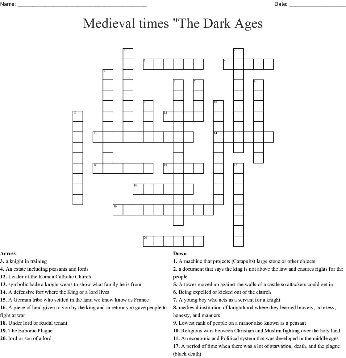 Middle Ages Crossword Wordmint