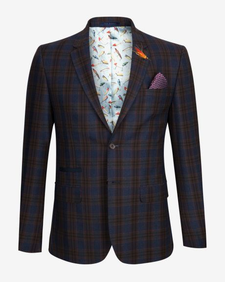 Tight Lines checked wool blazer - Blue | Blazers | Ted Baker UK ...