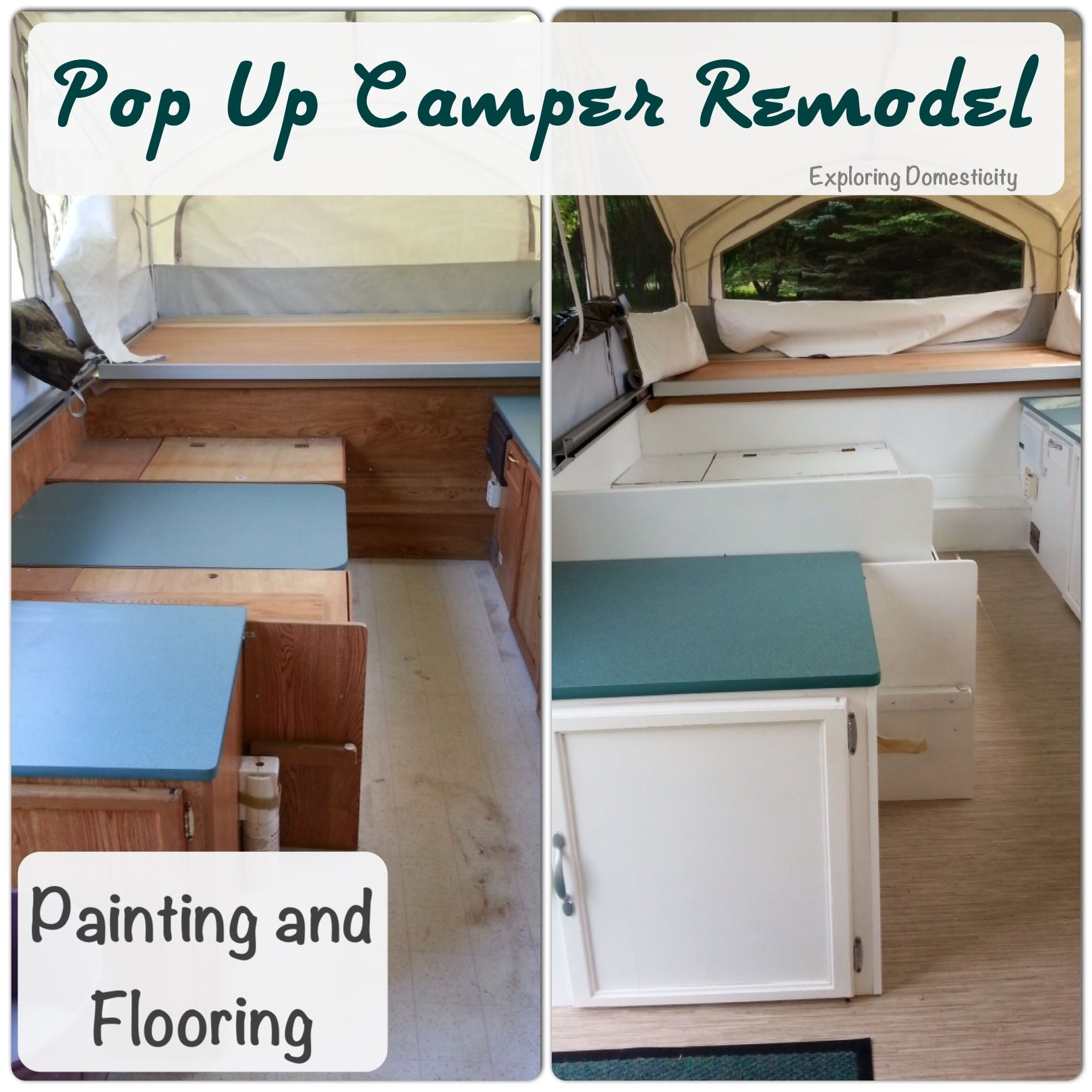Pop Up Camper Remodel Painting And Flooring Remodeled Campers Camper Makeover Popup Camper