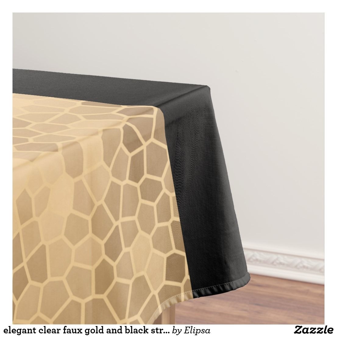 Elegant Clear Faux Gold And Black Stripes Tablecloth Zazzle Com Black Stripes Gold Stripes Elegant