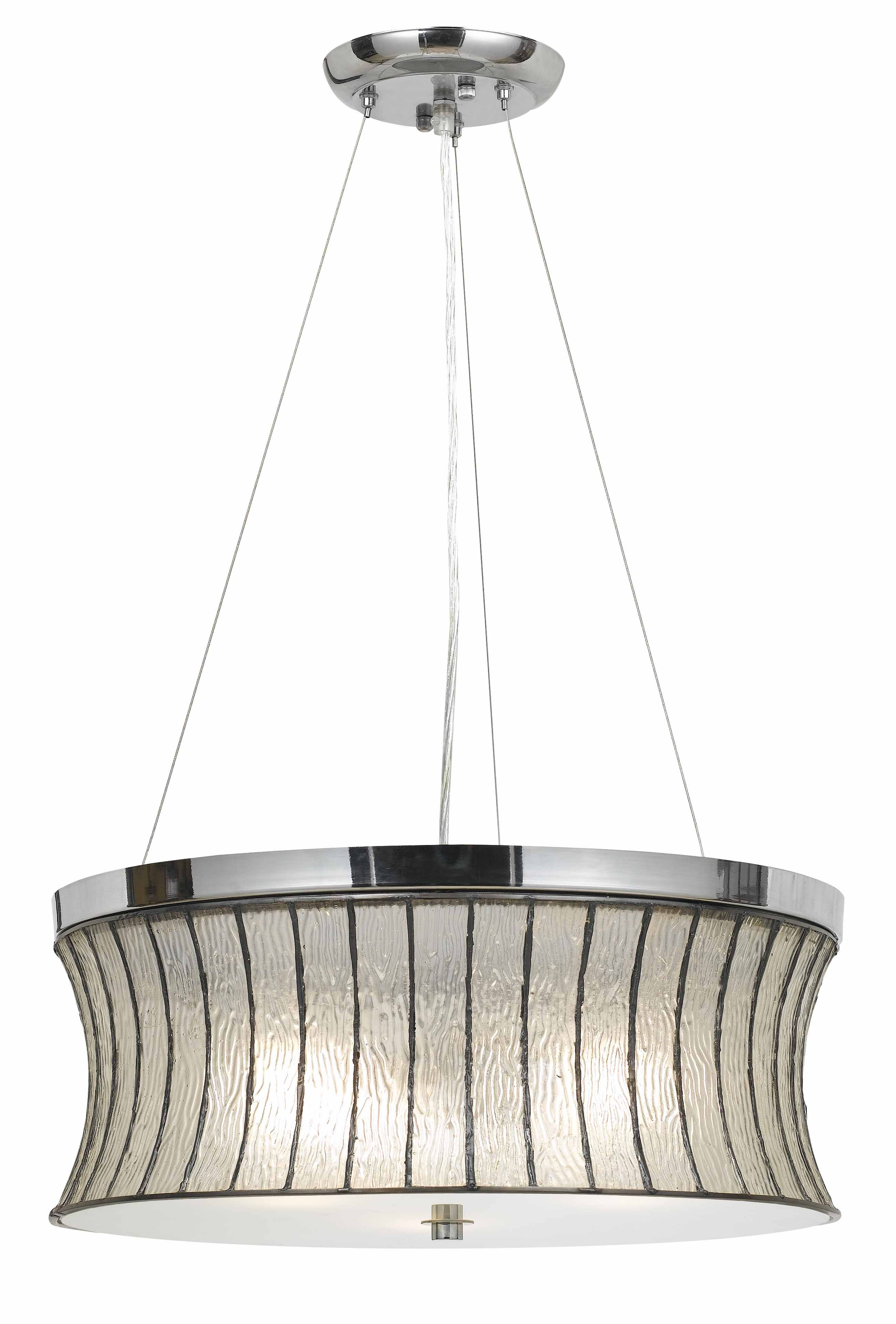 Cal Lighting Fx 3546 1p 60w X 3 Glass Pendant Drum Chandelier