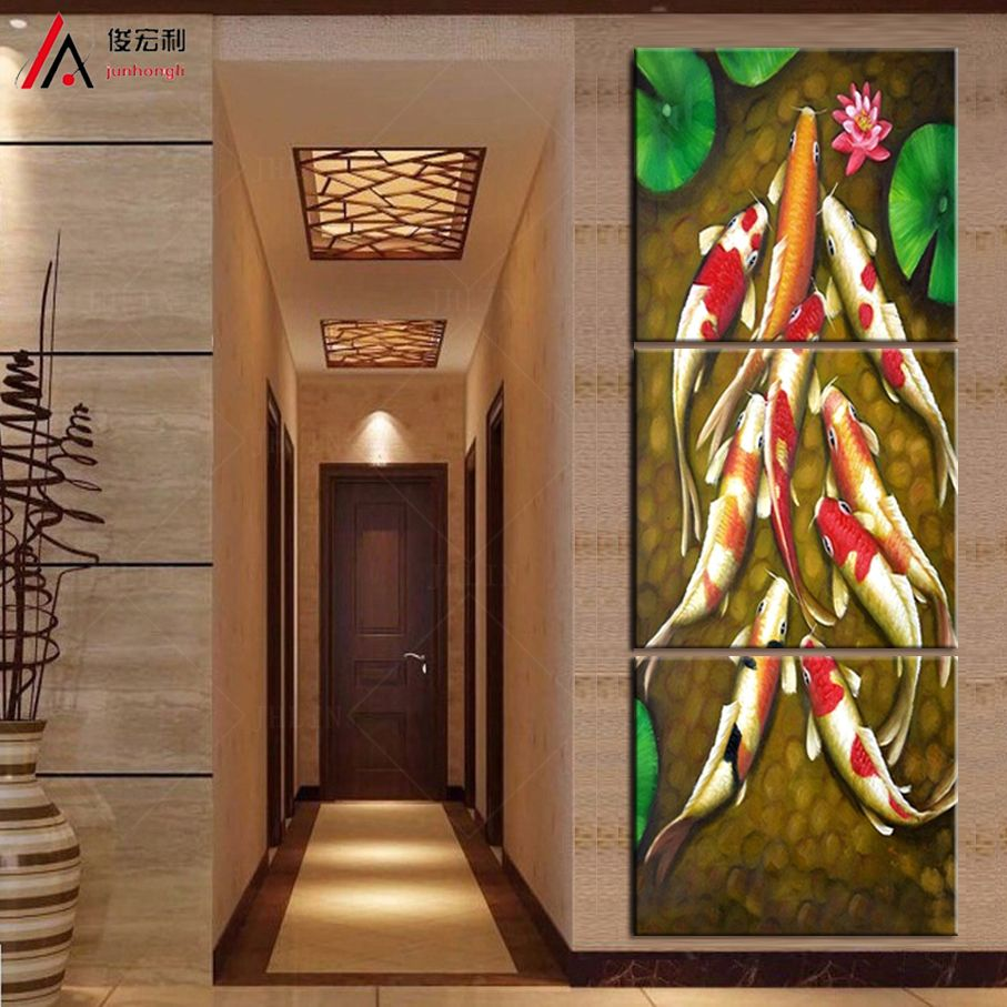 Vertical forms canvas art koi fish lotus goldand chinese oil