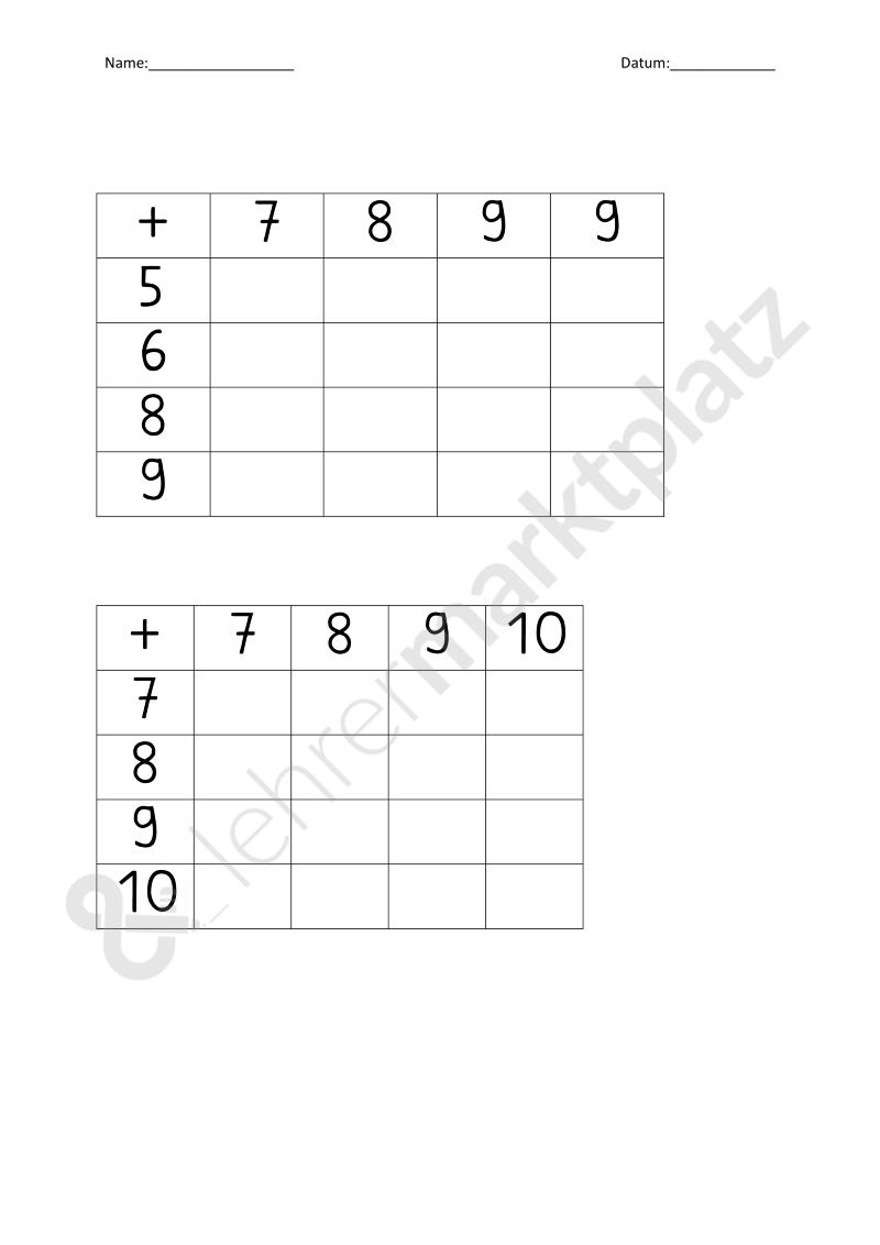 Rechentabellen differenziert (1.Klasse) – Mathematik | Mathematik ...