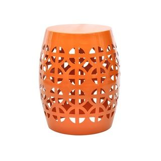 Kayden Indoor/ Outdoor Orange Metal Accent Table   Overstock