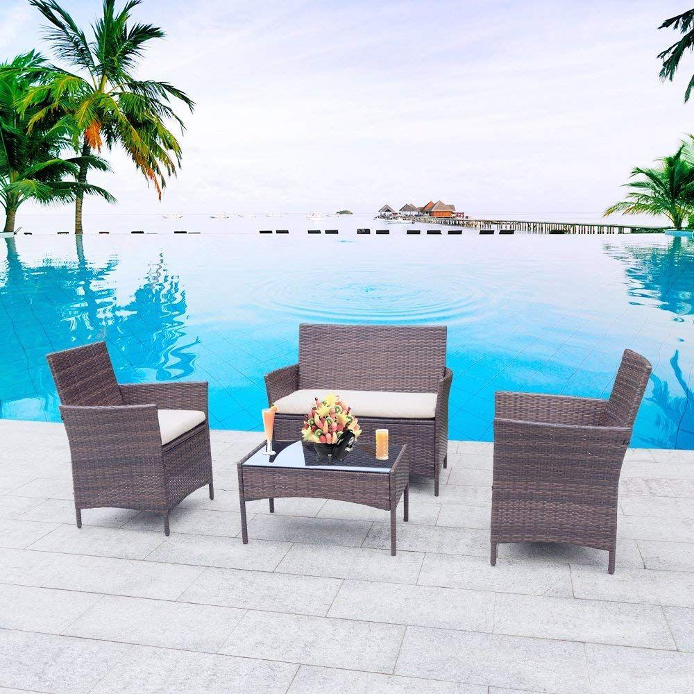 Amazon.com : Homall 4 Pieces Outdoor Patio Furniture Sets ...