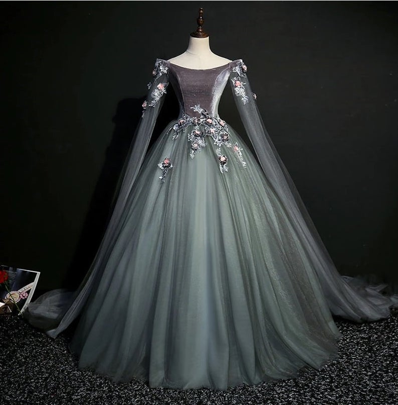 Dark grey 18th century coronation cosplay ball gown medieval dress Belle