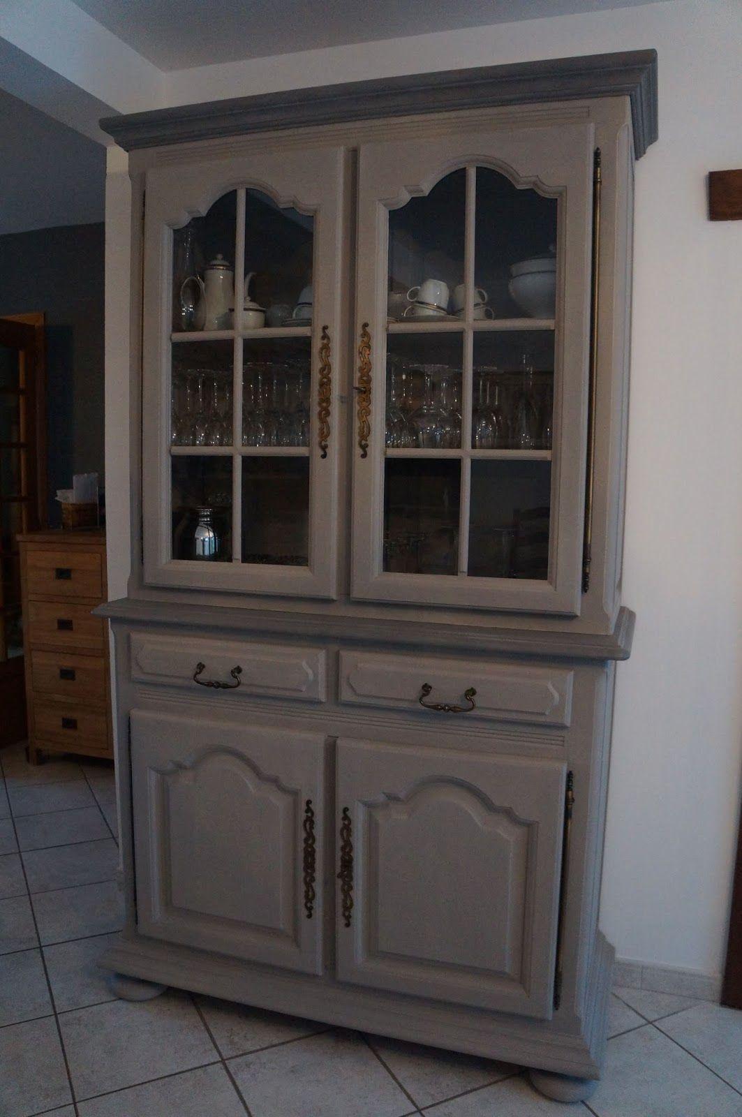 R novation vaisselier meuble en ch ne patin lin taupe nord lille urlu et berlu vieux - Renovation meuble en chene ...
