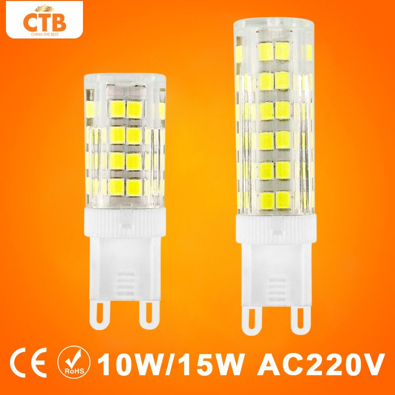 G9 LED 램프 AC 220 볼트 10 와트 15 와트 옥수수 전구 세라믹 크리스탈 SMD 2835 스포트라이트 360 360도 40 와트 50 와트 할로겐 램프