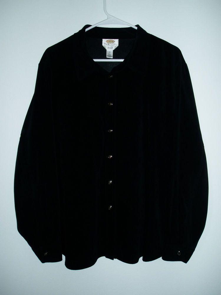 Womens TALBOTS Black Velour Button Front Stretch Blouse Shirt Top 2X Plus Size #Talbots #ButtonDownShirt