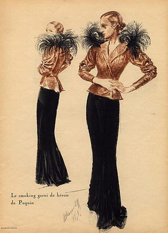 Gorgeous Le smoking outfit with interesting sleeve design. Imagine this with a black velvet skirt! Illustration by  Alexandre Iacovleff 1924 for Paquin Smoking  Heron Feathers