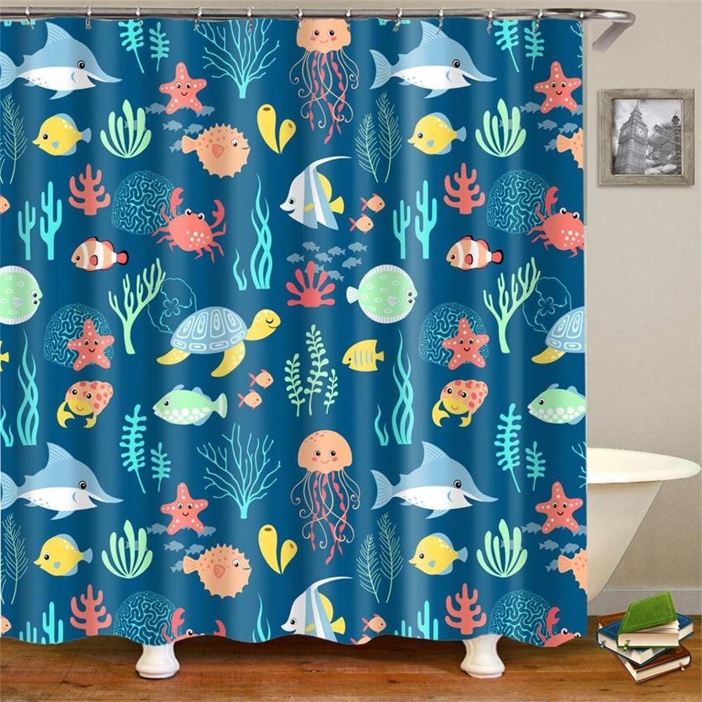 cartoon kids fabric shower curtain