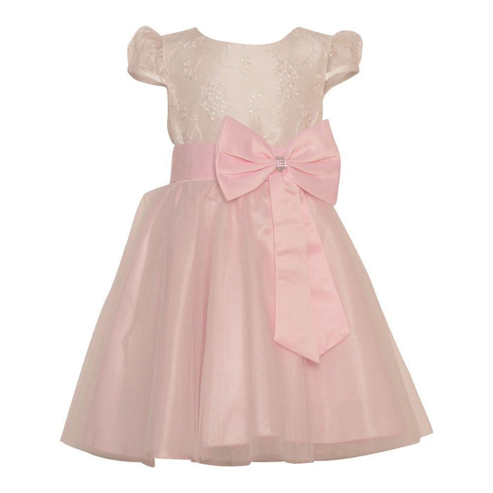 A cool fashion precious dress from Tobby's Angels just for your girl. Cute pink skirt and pretty ribbon bow at waist to mark extremely cultivated style. Fancy A-line dress with lace sleeves and nice embroidery on the off-white bodice. Concealed zipper at