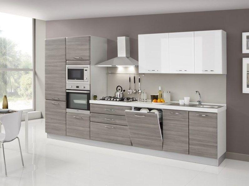 Cucina Bianca Moderna Lineare Cucina Ombra 360 Cm 5 Elettrodomestici Artigianale Cucina Grigia E Bianca Arredo Interni Cucina Design Della Dispensa Cucina