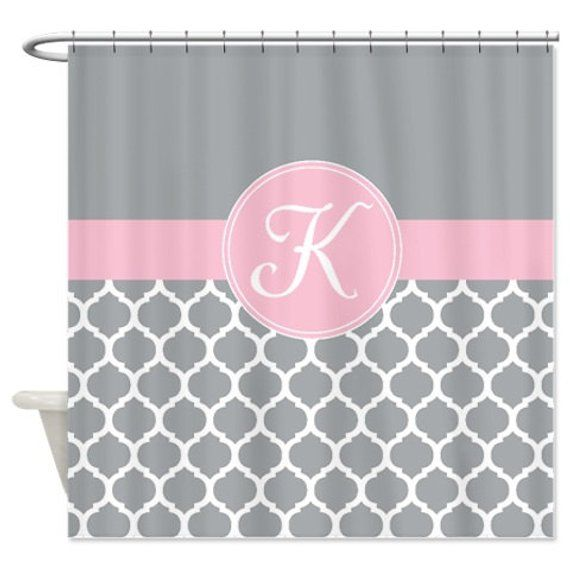 Quatrefoil Shower Curtain Custom Personalized With Monogram Initial Grey Light Pink White OR Choose