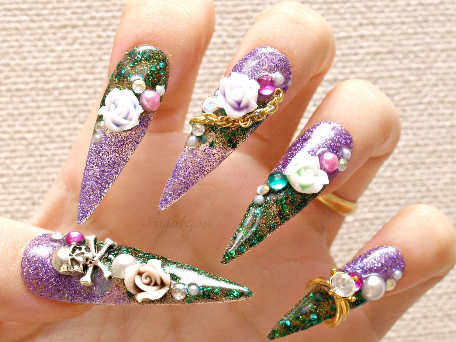 Stiletto nails, super long nails, purple, green, 3D nails, drag ...