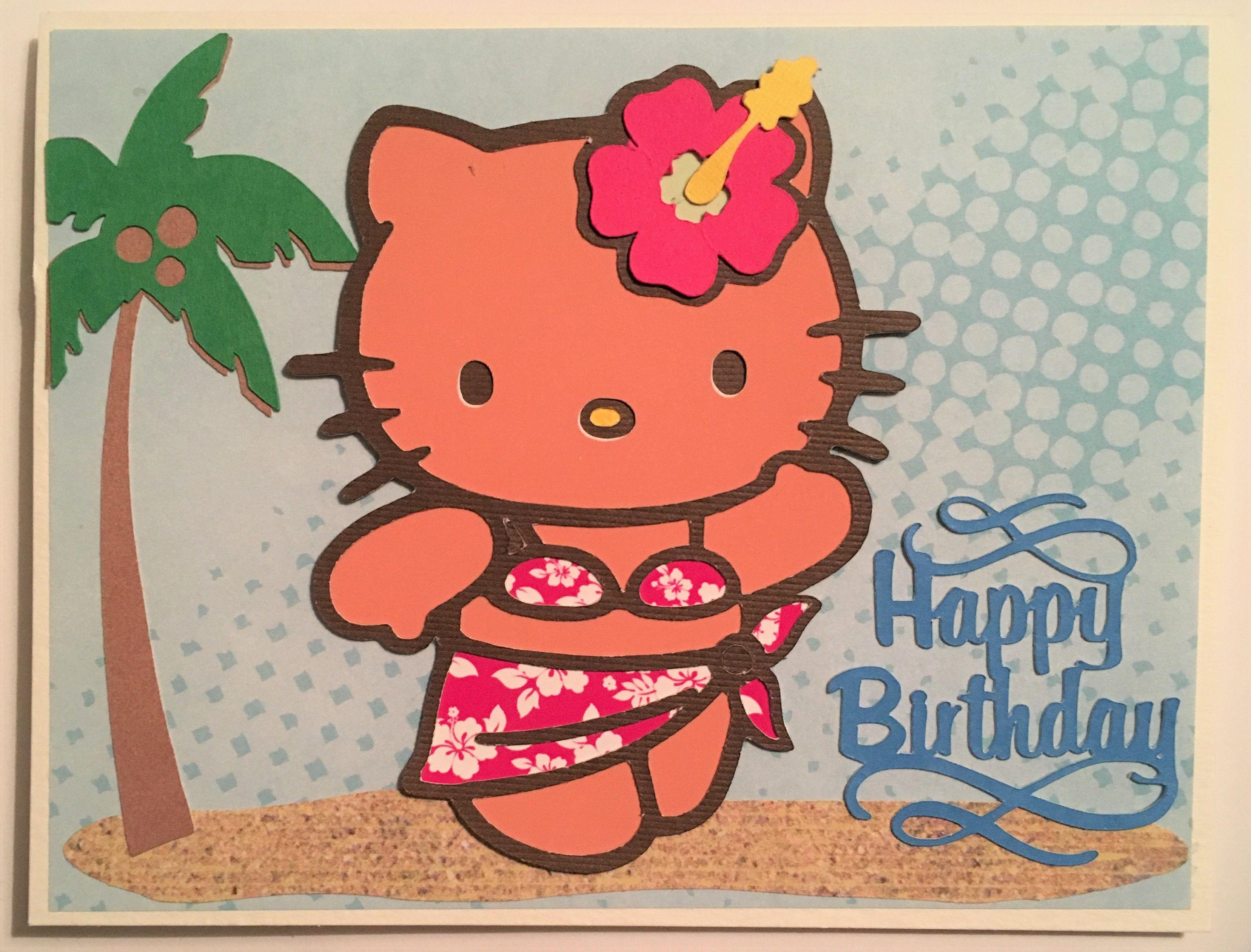 Hawaiian Themed Hello Kitty Happy Birthday Cricut Card With