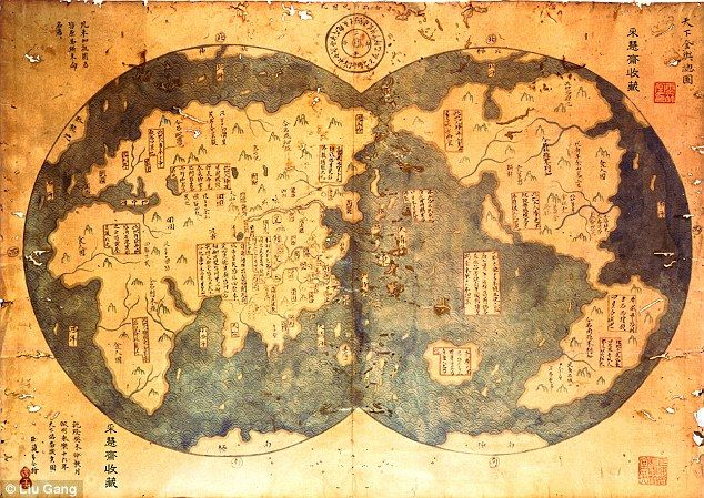 Author claims chinese first discovered new world 40000 years ago map of the world it is claimed that this is an eighth century copy of the map admiral zheng he made in 1418 the map clearly shows the new gumiabroncs Image collections