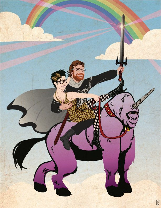 Custom Illustrated Portrait - couple riding a mythical
