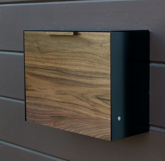 Modern Mailbox Large Walnut And Stainless Steel Wall Mounted