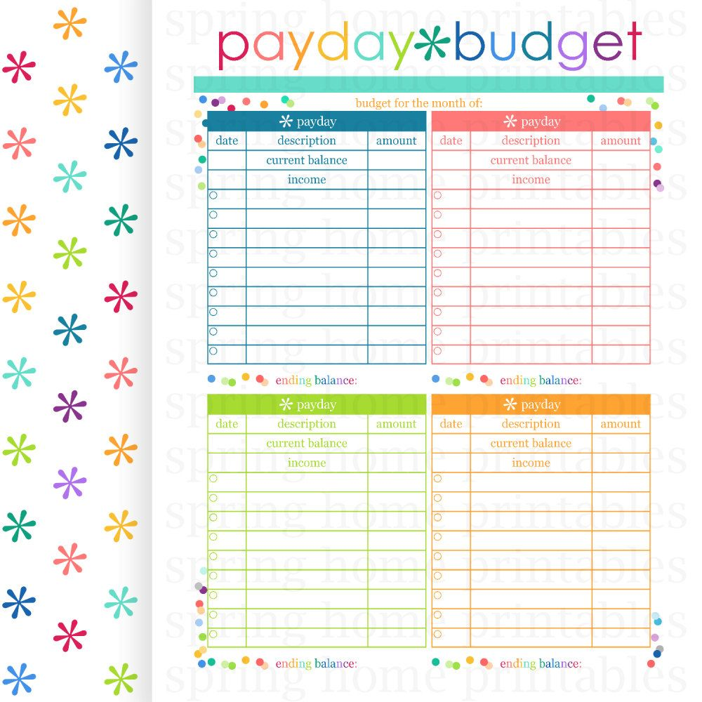 PAYDAY BUDGET, Budget Planner, Printable Budget, Bill Organizer ...