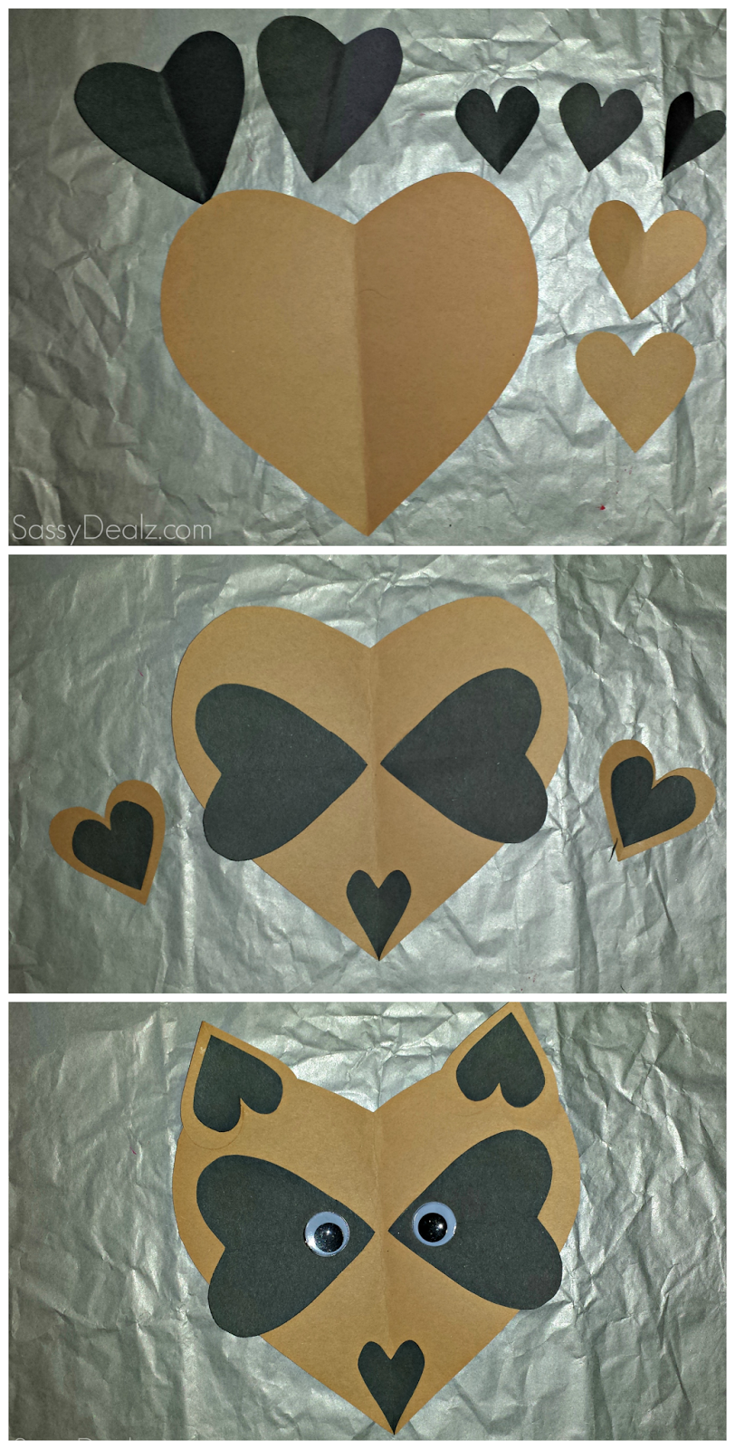 Paper Heart Raccoon Craft For Kids Valentines card idea DIY art