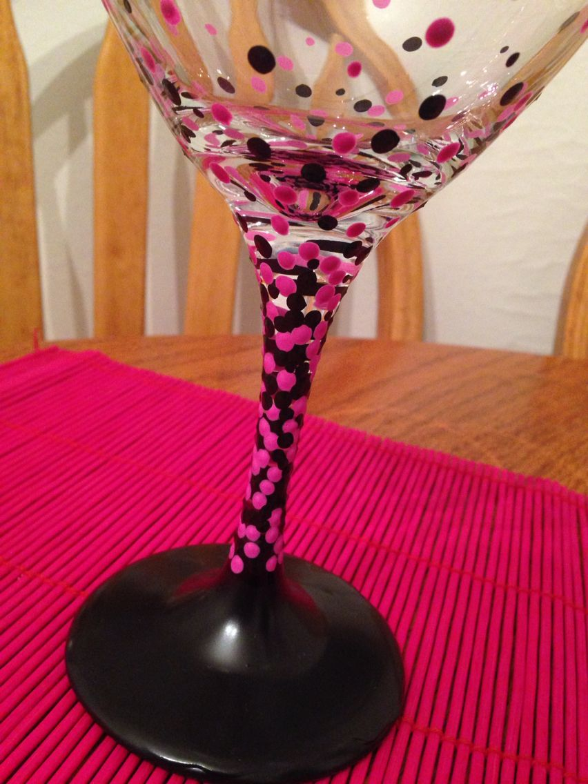 Closeup Of Two Chalkboard Paint Dipped Wine Glasses With Pink And Black Polka Dots Hand Painted By Lesst Painted Wine Glass Painted Wine Glasses Wine Glass Art